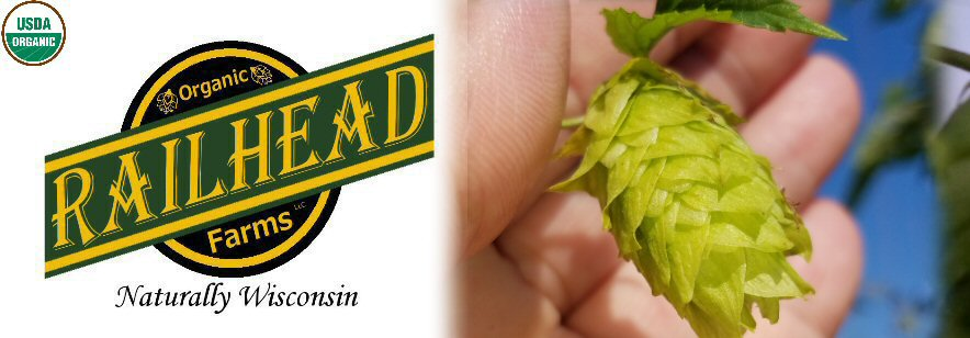 Railhead Farms LLC logo, USDA Certified Organic symbol, and image showing Certified Organic Cantennial  hop cones 2016